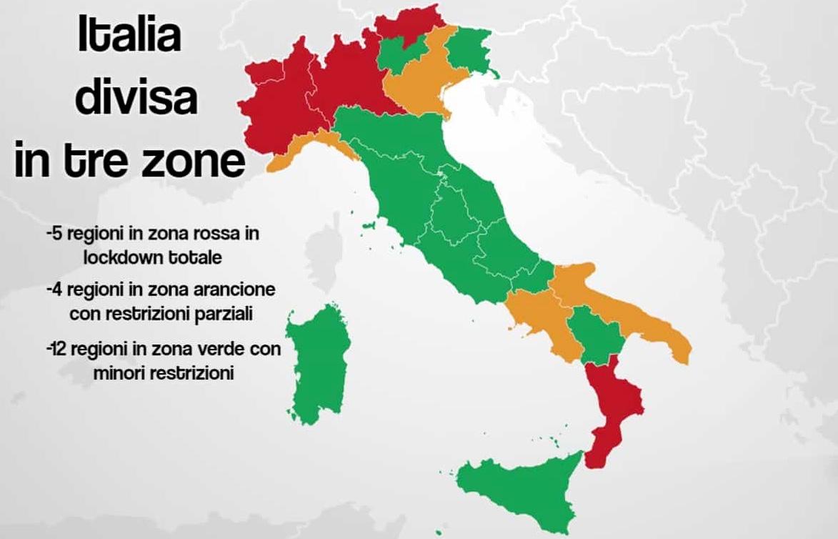 Italia divisa in tre zone