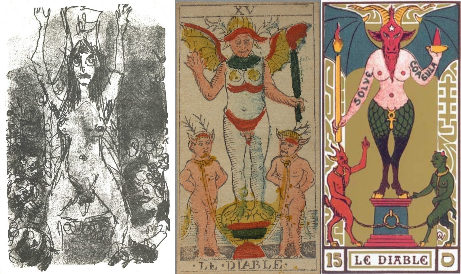 Above left is the illustration of the hermaphrodite done for Meyrink by  Hans Fronius (reproduced in the 1969 German edition, p. 31).
