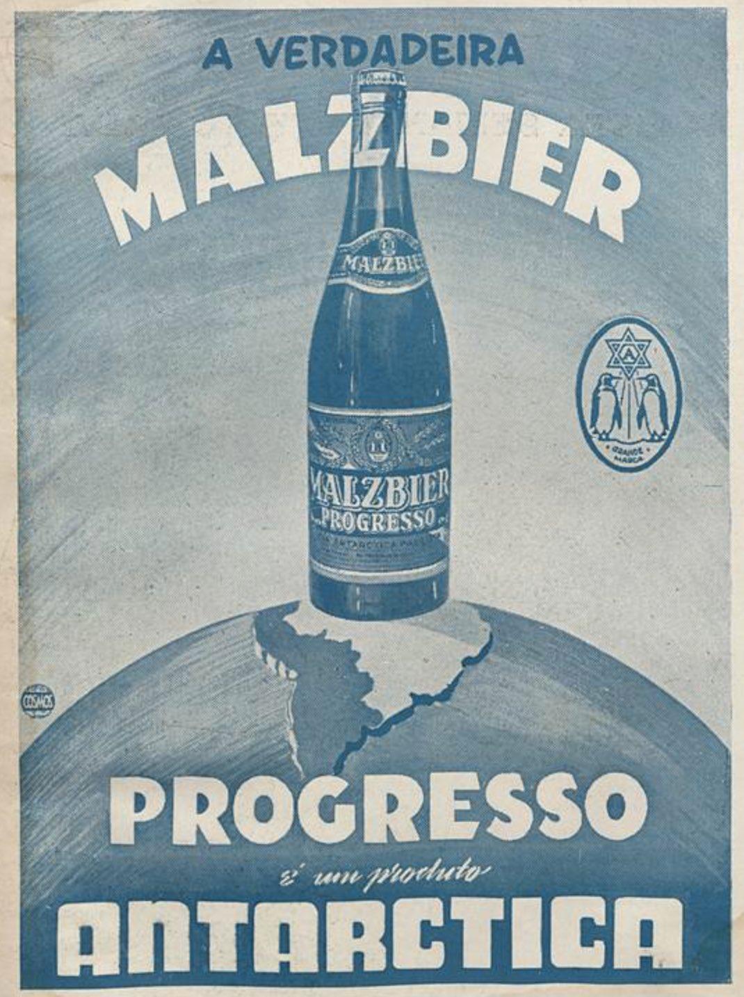 Anúncio antigo veiculado em 1942 pela Antarctica para promover a Malzbier