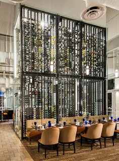 The wine tower at the Sea Salt restaurant in St. Petersburg, Florida is 20-feet high and has over 5000 bottles of wine
