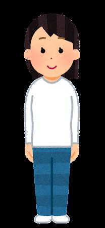 ロングTシャツを着た人のイラスト(女性)