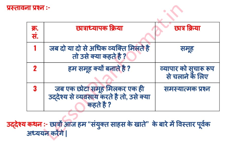 B.ed Commerce Lesson Plan In Hindi