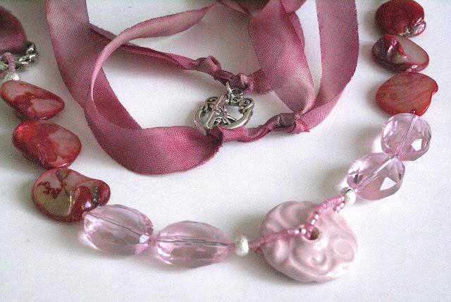 Pink Crystal Necklace by BayMoonDesign