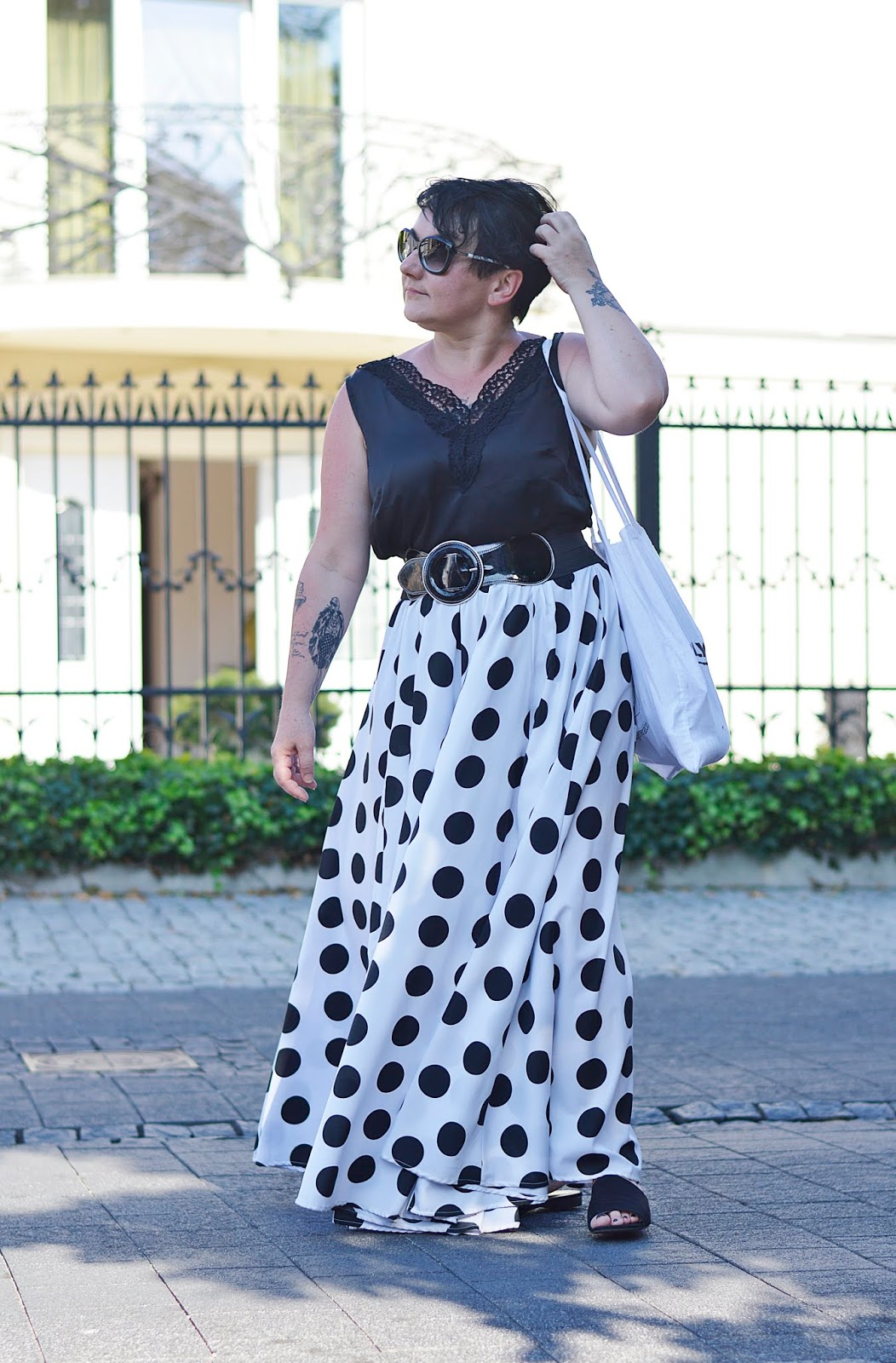 Black and white fashion, polka dots, Black and white summer.