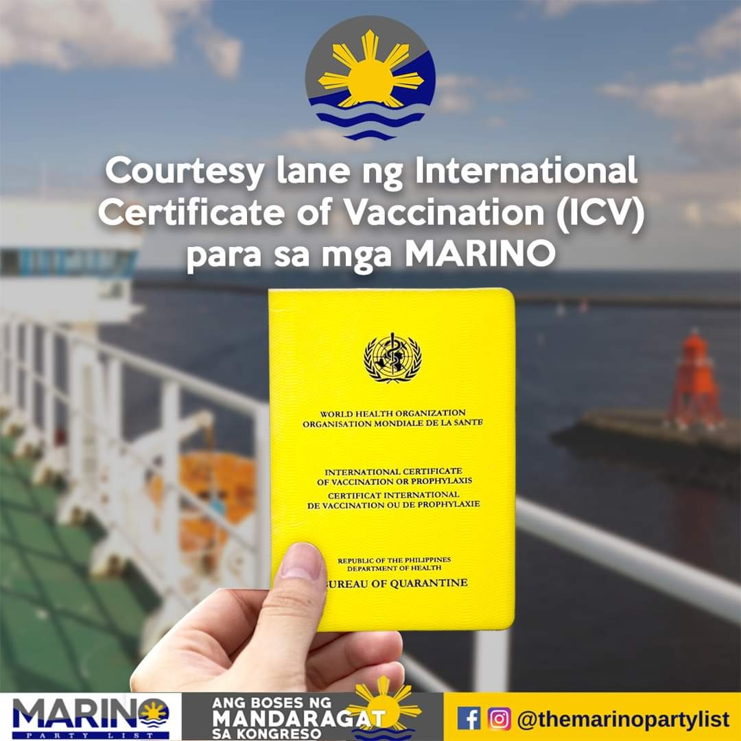COURTESY LANE NG INTERNATIONAL CERTIFICATE OF VACCINATION (ICV) PARA SA MGA MARINO
