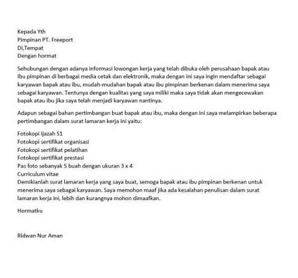 Contoh surat lamaran kerja di pertambangan