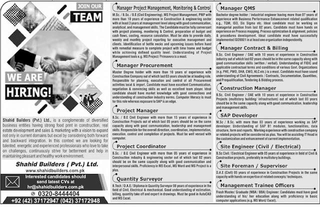 We Are Hiring Shahid Builders Pvt Ltd Lahore