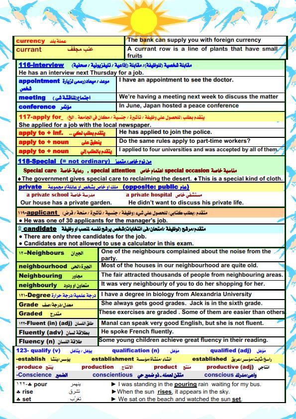 قواعد اللغة الانجليزية والملاحظات اللغوية للصف الثالث الثانوي مستر/ أحمد فرحات 13
