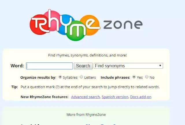 RhymeZone - How To Find Rhymes At RhymeZone