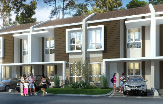 tampak depan rumah minimalis ukuran 7x15 meter 3 kamar tidur 2 lantai
