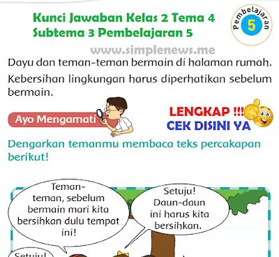 Kunci Jawaban Tematik Kelas 2 Tema 4 Subtema 3 Pembelajaran 5 www.simplenews.me