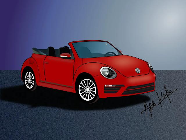 VW beetle rojo descapotable
