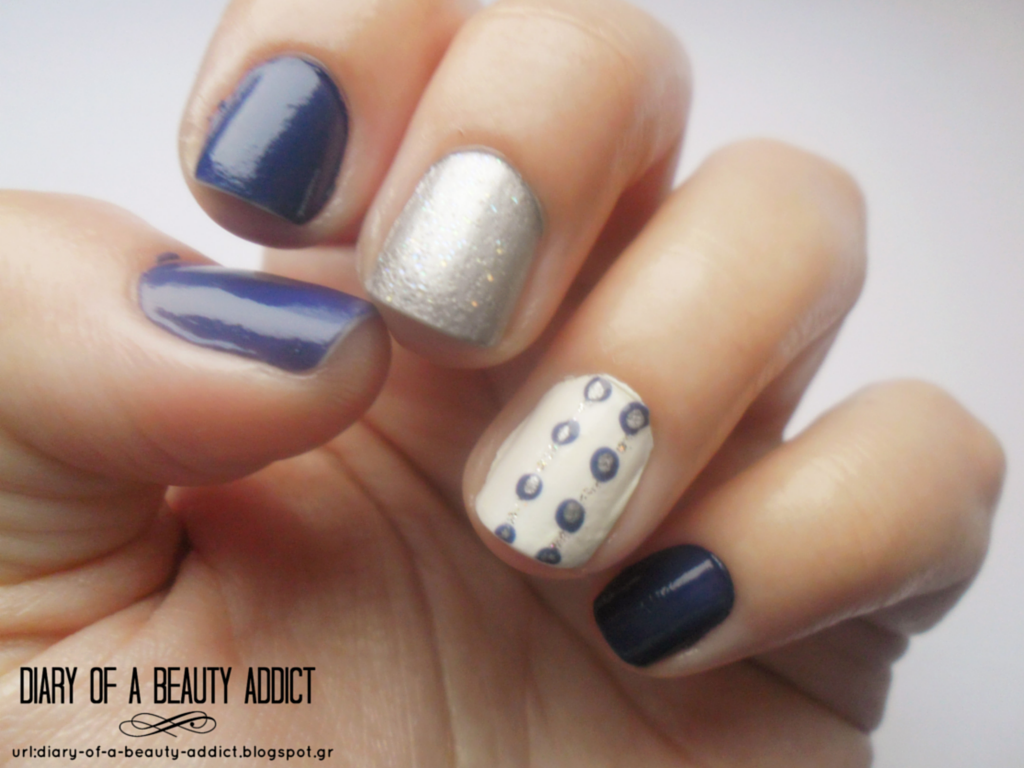 Blue Mix & Match Nails
