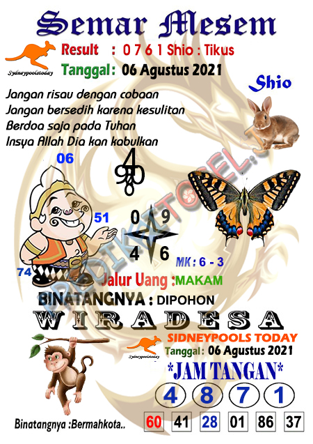 Syair Semar Mesem SDY Jumat 06-Agt-2021