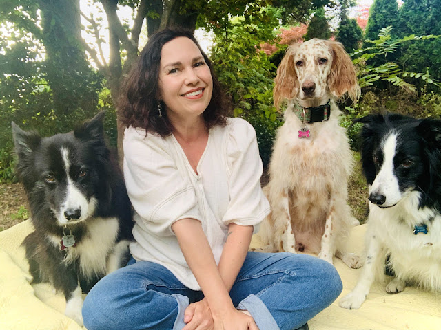 Aislinn Hunter, author of The Certainties, and her dogs