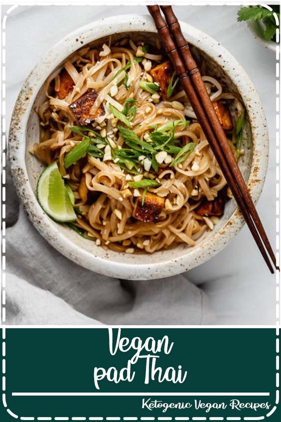 This vegan pad Thai recipe is healthy and easy to make! You'll love this noodle dish with tofu, peanuts and the most delicious pad Thai sauce! #padthai #veganrecipe#tofu #noodles #choosingchia