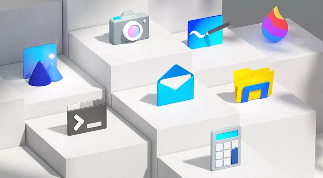 Redesigned Microsoft colorful Windows 10 icons