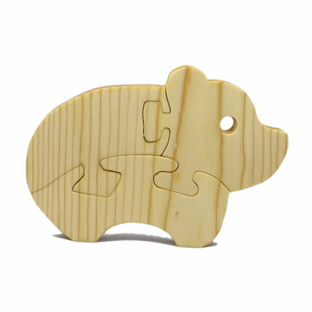 Handmade Wooden Toy Puzzle Baby Bear Easy Puzzle for Toddlers and Preschool Kids