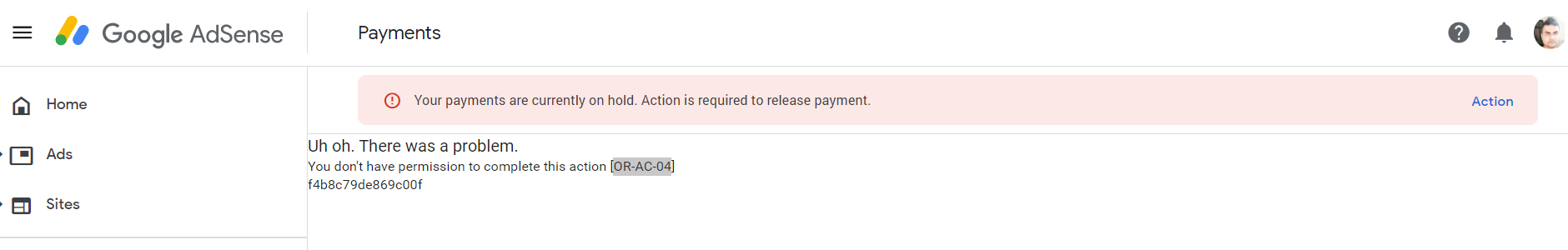 "How to Fix AdSense Payment Error ""You don't have permission to complete this action [OR-AC-04]""?"