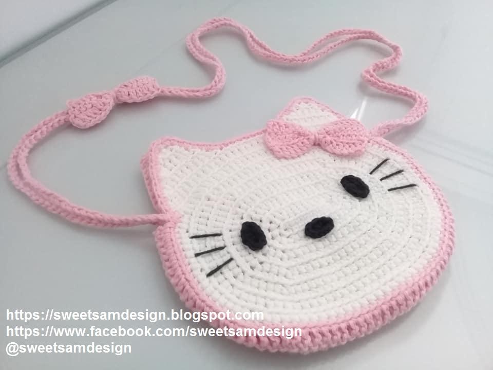 Cute HELLO KITTY Crochet Messenger Bag Free Pattern