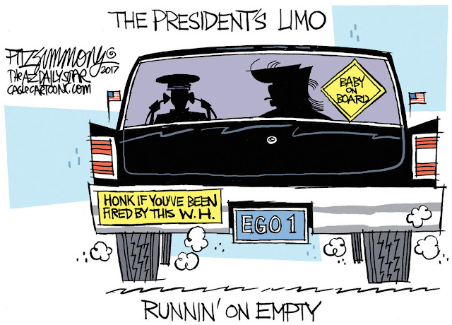 Title:  The President's Limo.  Image:  Trump and driver in limo adorned by a