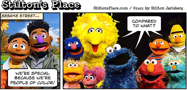 stilton's place, stilton, political, humor, conservative, cartoons, jokes, hope n' change, sesame street, race, racism, Muppets