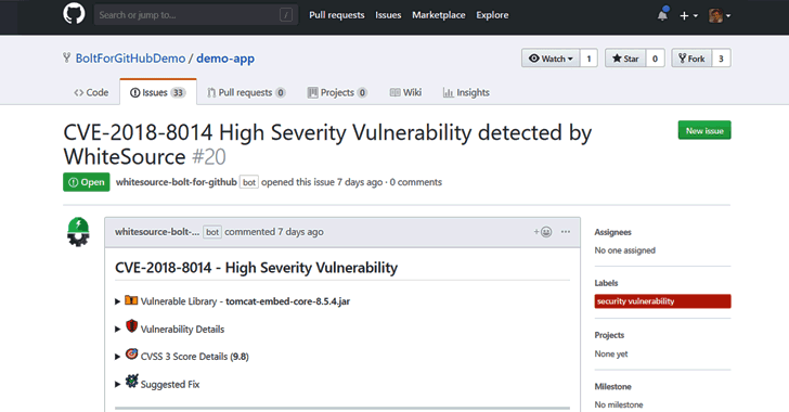 WhiteSource Bolt for GitHub: Free Open Source Vulnerability Management App for Developers