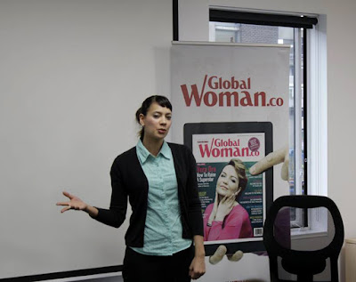 Anna-Christina talking at Global Woman Magazine's Exclusive Networking Breakfast