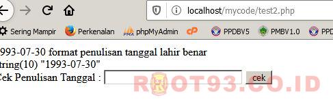 hasil eksekusi browser untuk validasi tanggal