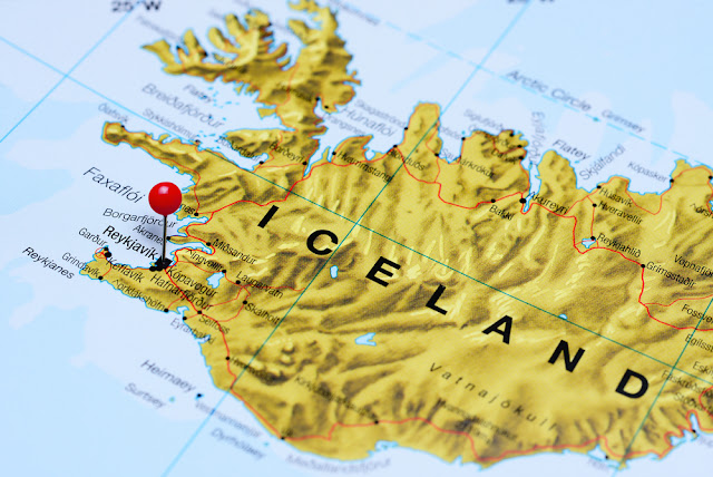 Map of Iceland with capital Reykjavik pointed out with pin