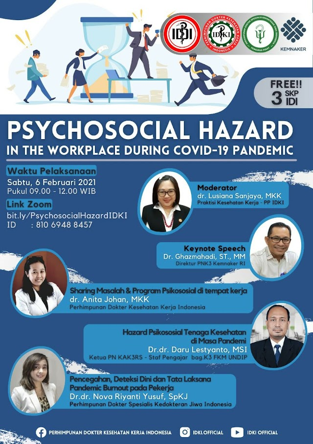Free 3 SKP IDI Webinar Psychosocial Hazard in The Worksplace during Covid-19 Pandemic