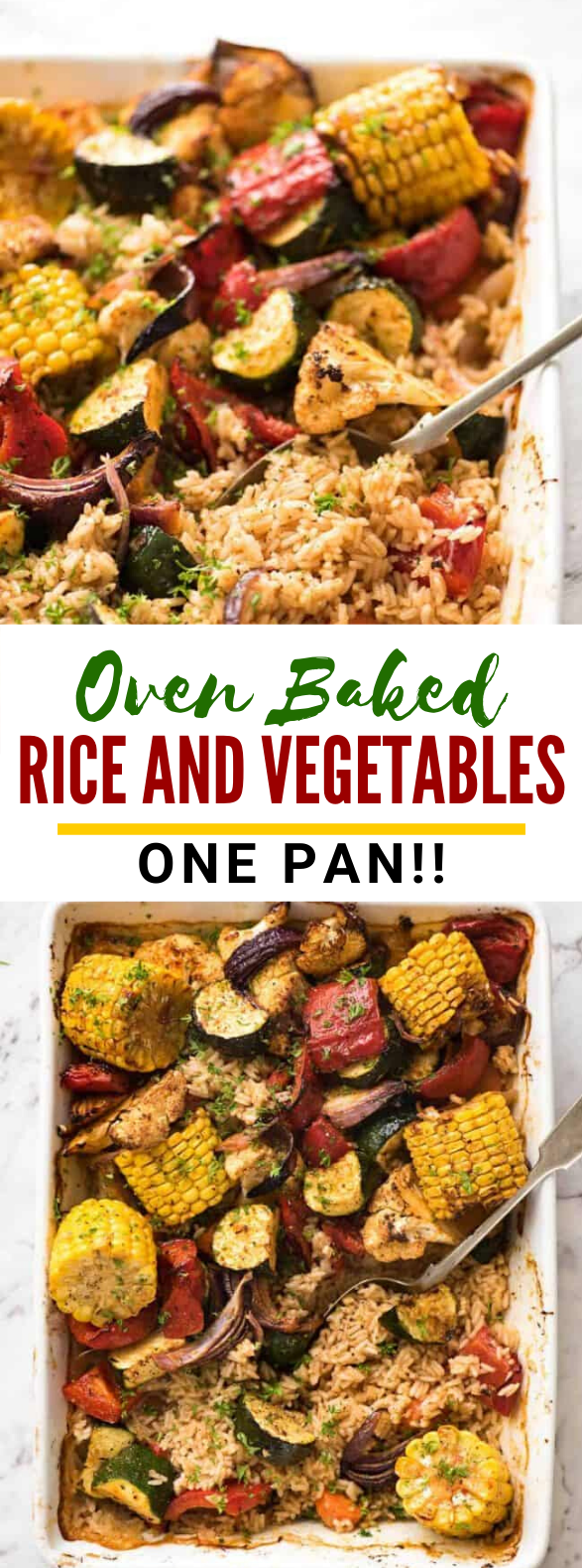 Oven Baked Rice and Vegetables (ONE PAN!!) #vegetarian #dinner
