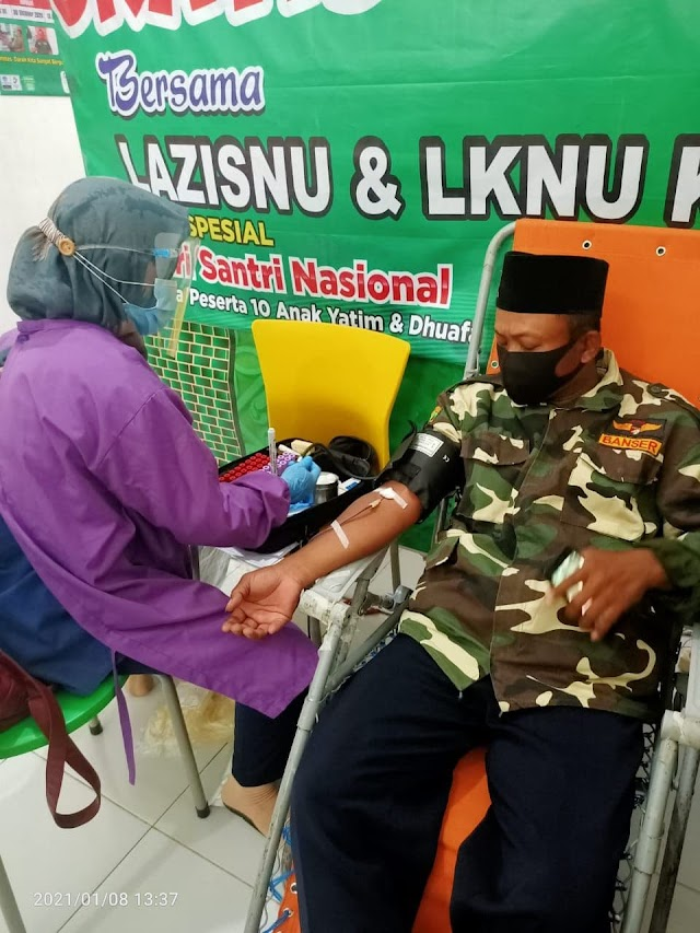 Donor darah MWC NU Kertosono Nganjuk