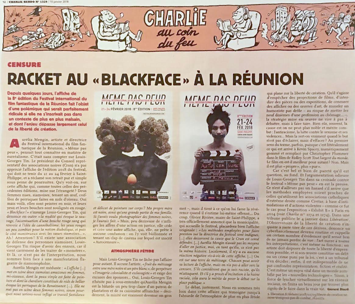 Le Festival MEME PAS PEUR dans Charlie Hebdo