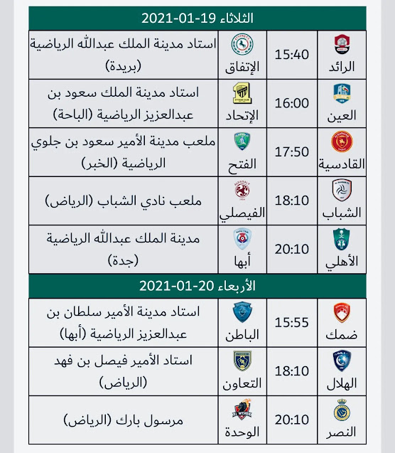 جدول مواعيد الجولة 14 من الدوري السعودي 2021