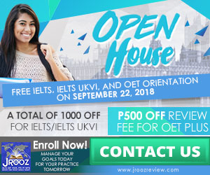JROOZ IELTS/UKVI/OET One Day Promo  Join us on September 22, 2018   Free IELTS / IELTS UKVI / OET Orientation  IELTS: – 500 Off on Review Fee and Exam Fee A total of 1000 Off for IELTS/IELTS UKVI  OET: – 500 Off on Review Fee for OET plus – Receive free assistance in exam registration and – 50% Reimbursement Fee for OET exam coming from our Partner Recruitment Agencies (OFFER IS EXCLUSIVE TO JROOZ STUDENTS)
