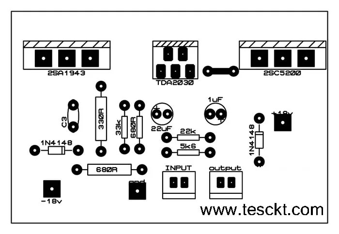 Tda2030 with transistor amplifier PCB TOP