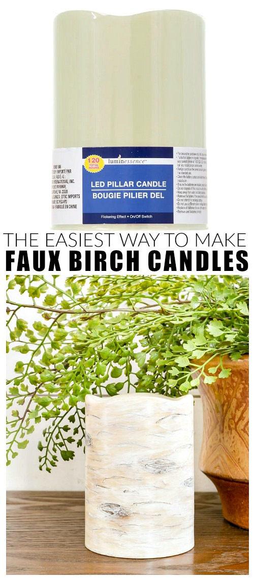 Before and after faux birch wood candlees