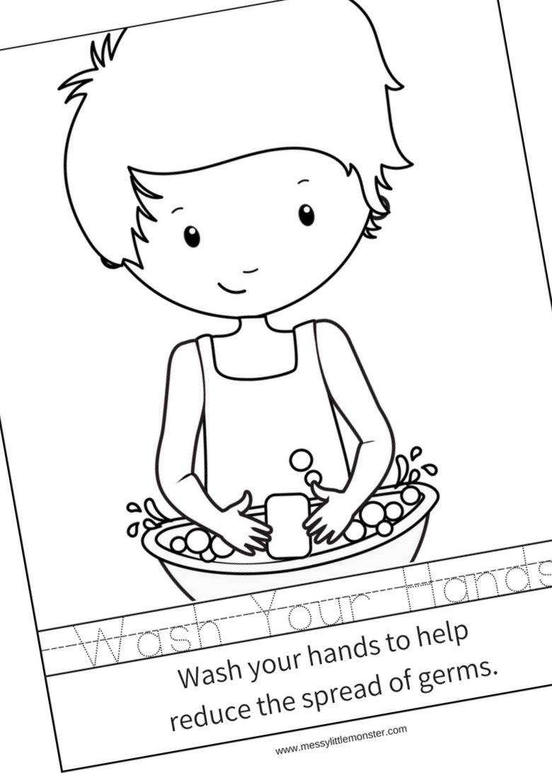 printable hand washing colouring poster
