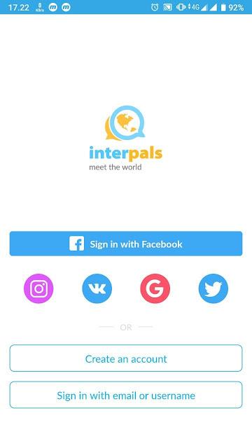 Tampilan awal aplikasi Interpals android