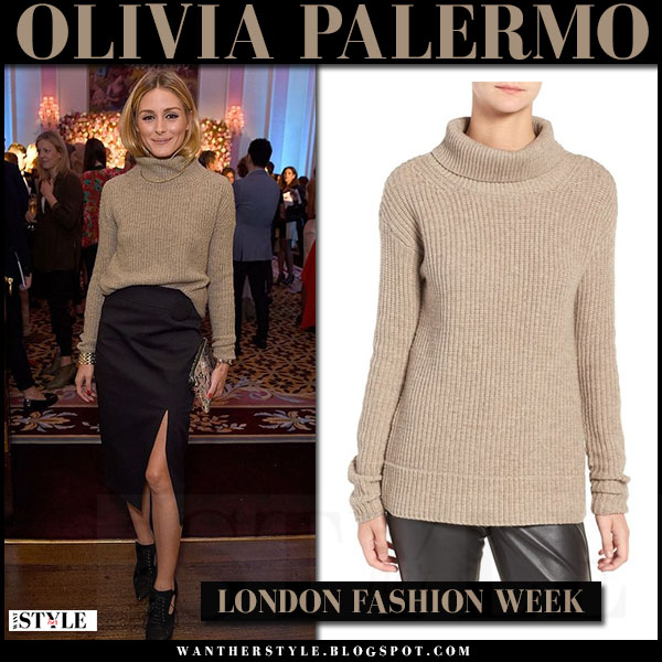 Olivia Palermo in beige knit turtleneck sweater and pencil skirt ...