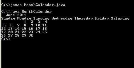 Java program codes: display month calendar in java