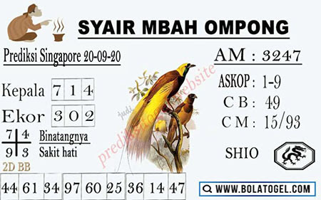 Syair Mbah Ompong SGP Minggu 20 September 2020