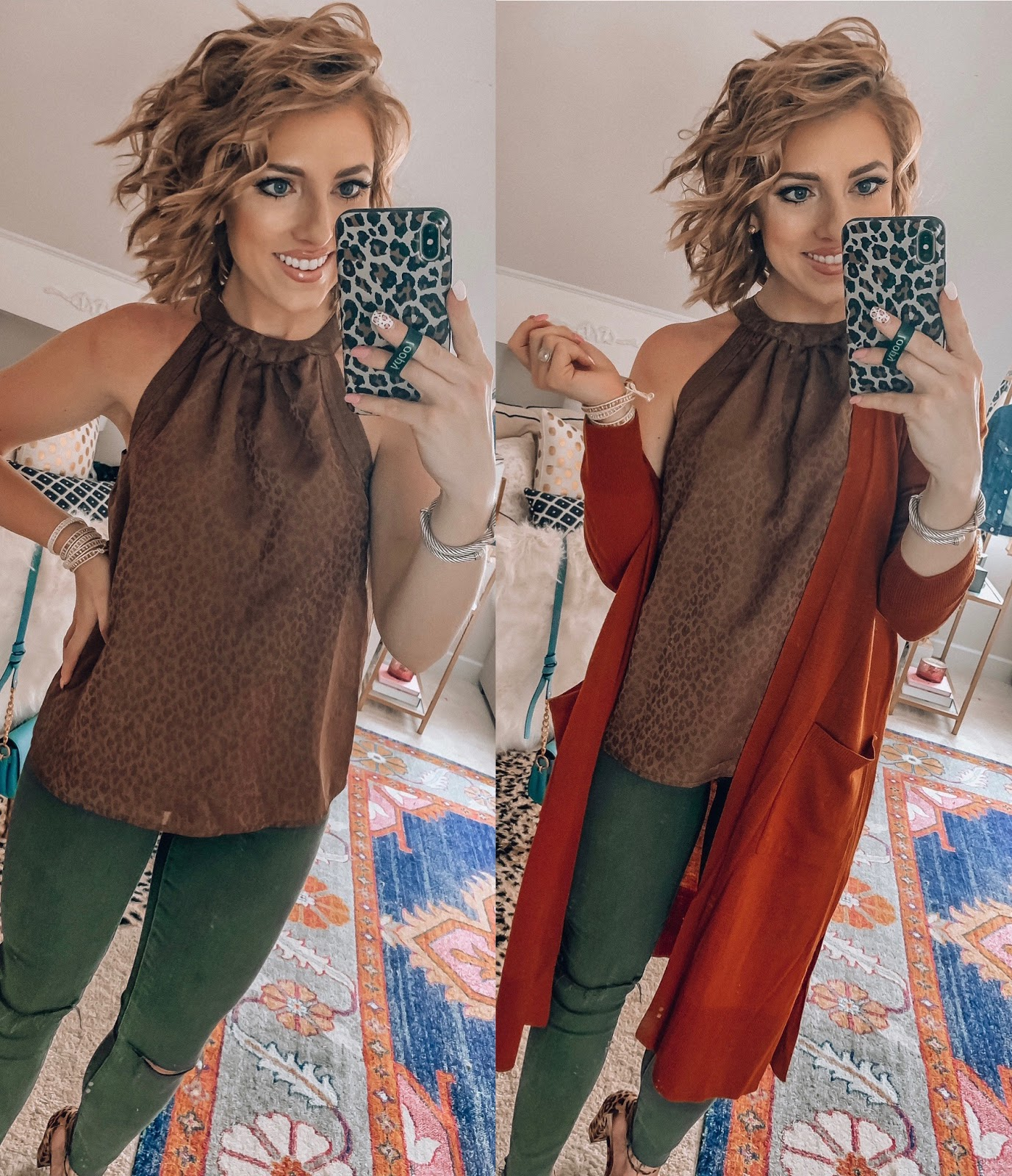 Target Fall Finds: Part 2 - Under $20 Leopard Halter Top Styled Two Ways with Olive Jeggings and Cardigan - Something Delightful Blog #fallfashion #leopard #pajamas #targetstyle #targetfallfinds