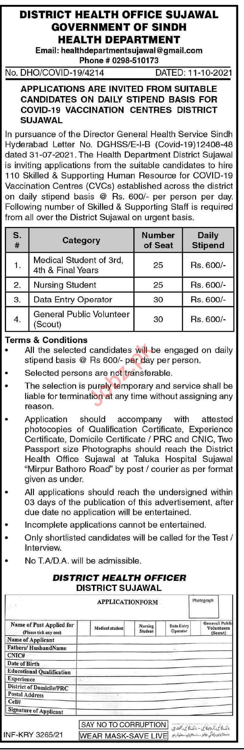 District Health Office Sujawal Jobs 2021 in Pakistan - Sujawal District Jobs 2021