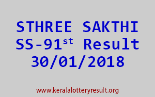 STHREE SAKTHI Lottery SS 91 Results 30-01-2018