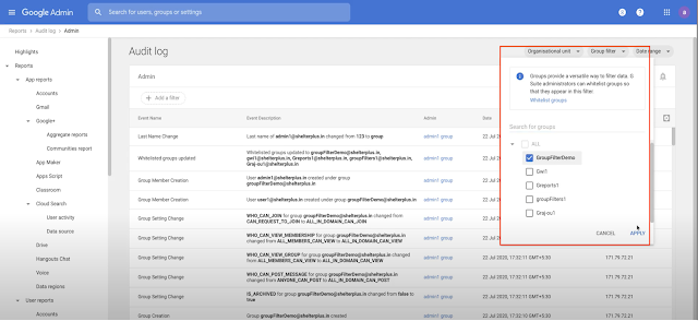Filter audit logs and usage reports by groups in Google Workspace 1