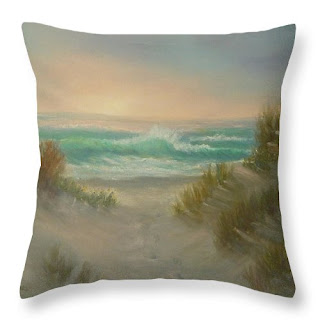 Coastal Home Beach Throw Pillow Sunset and Foofprints Sand