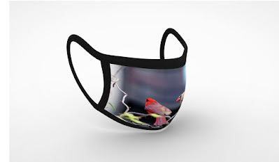 """This is a screen-shot featuring a 3D view my face mask that is called """"Cardinal Love 3."""" It is available via Fine Art America. Details can be found within one of their web-pages @ https://pixels.com/featured/cardinal-love-3-patricia-youngquist.html?product=face-mask-flat"""