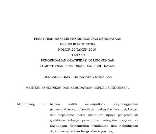Permendikbud Nomor 29 Tahun 2019 tentang Pengendalian Gratifikasi di Lingkungan Kemendikbud